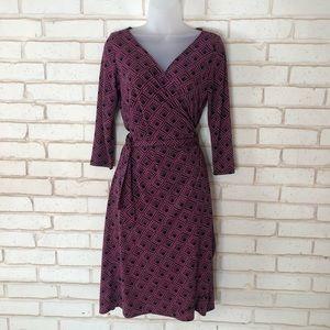 London Times Pink And Black Wrap Dress Sz 12